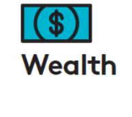 icon with picture of money and the word wealth
