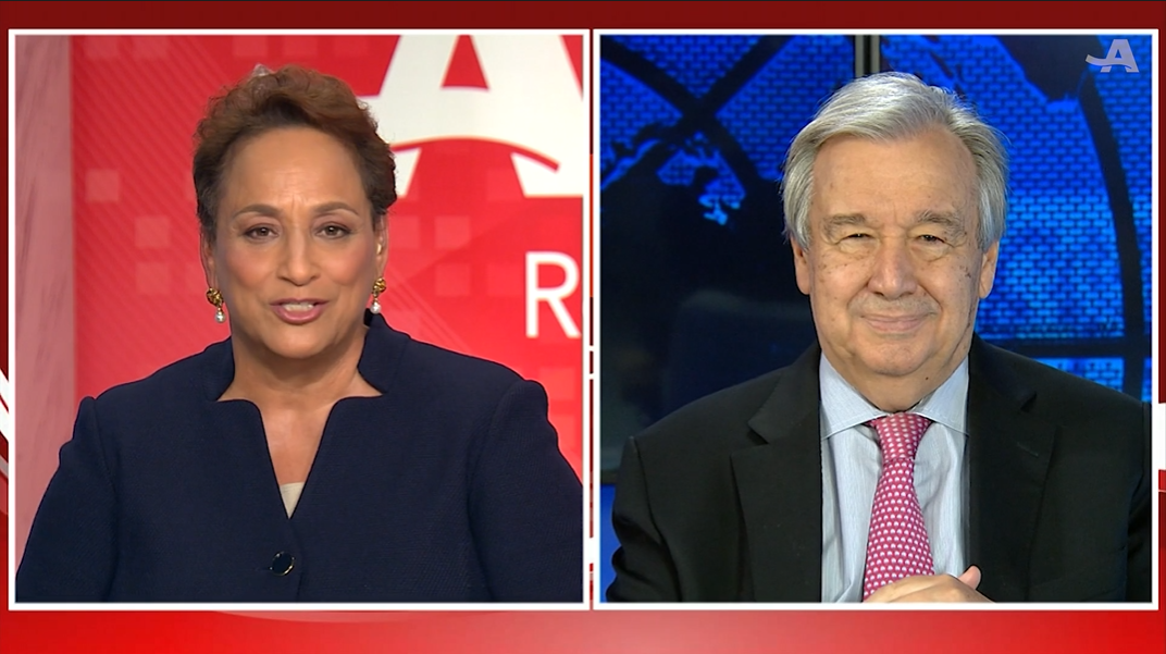 Joann Jenkins and Antonio Guterres side-by-side during an interview about COVID-19 and the elderly population