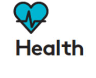 icon with picture of a heart and the word health